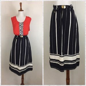Vintage 80's 90's Striped Cotton A-Line Midi Skirt